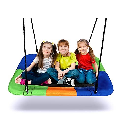 Nestschaukel, Dripex Garten Schaukel für Kinder Erwachsene, Square Tellerschaukel Outdoor Indoor bis 150 kg belastbar, 115 cm x 75 cm