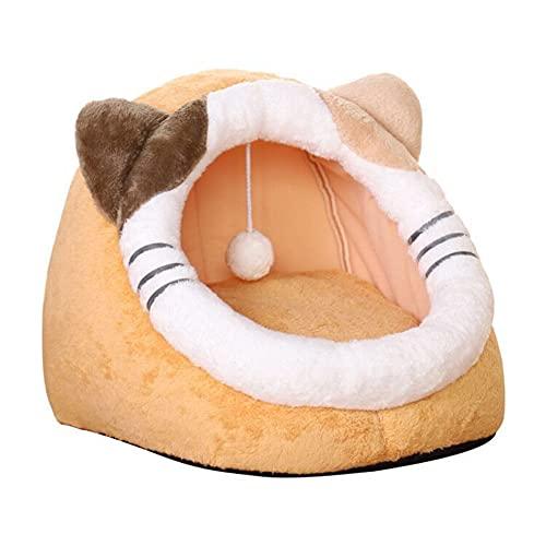 Letto per animali domestici, cuccia per gatti e grotta, per autunno e inverno, confortevole e morbida tenda in peluche rimovibile semi-chiusa, cuccia per cani di piccola taglia