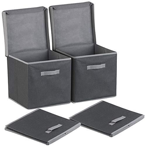 PEARL Box: 2er-Set Aufbewahrungsboxen mit Deckel, faltbar, 31x31x31 cm, schwarz (Faltbare Boxen mit Deckel)