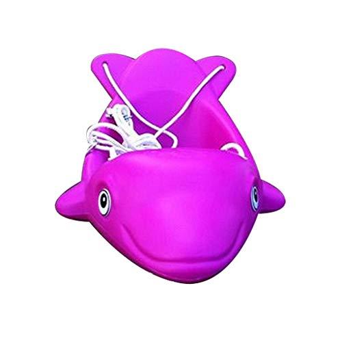 QULONG Columpio con Forma de delfín Asiento de Columpio para niños Juego de Fitness Seguridad Columpio para niños Adecuado para Patio de Juegos Interior al Aire Libre Patio Multicolor Hamaca de Jar