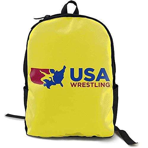 Kimi-Shop Zaino Stile Americano per la Scuola Unisex da Uomo e da Donna Wrestling USA