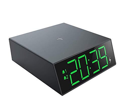 Radiowekker, elektronische led met 10w snelle draadloze oplader Nachtkastje Snooze-klok Digitale wekker met 12/24 uur weergave