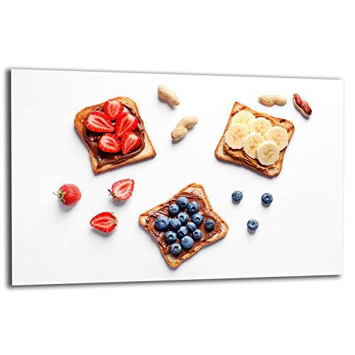 TMK   Placa para cubrir la cocina de 80 x 52 cm, 1 pieza, protección contra salpicaduras, placa de cristal decorativa, tabla de cortar, frutas y postres