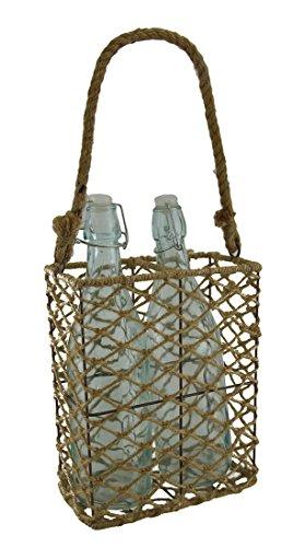 A&B Home Jute and Metal Basket with Bottles Coastal/Jute