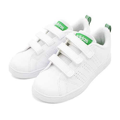 [アディダス] VALCLEAN バルクリーン キッズ ジュニア スニーカー シューズ 靴 (18cm, ホワイト/グリーン) ...