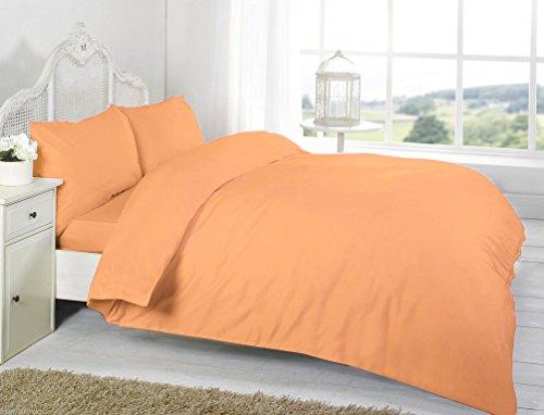 RB Luxury Polycotton Parcale Plain Dyed Duvet Cover & 2 Pillow Cases Bed Set (Single, Peach)