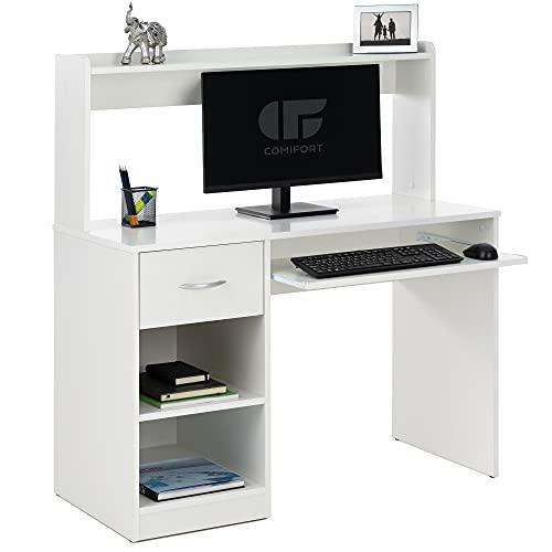 COMIFORT Mesa Escritorio - Escritorio Ordenador de Diseño 2 alturas 2 estantes 1 cajón y soporte teclado extraible. Escritorio de Estilo Moderno – SUARON blanco