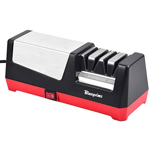 Knife Sharpener, Winnprime Professional 2-Stage Electric Knife Sharpener for Kitchen,Sharpening for...