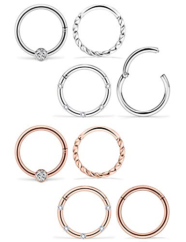 Dyknasz Cartilage Earrings Hoop 16G Stainless Steel Helix Daith Tragus Piercing Jewelry CBR Segment Hinged Clicker Septum Ring CZ Sleeper Earrings for Women Men