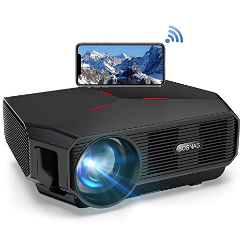 【2020 Upgrade】 Beamer WiFi, Native 720p Wireless Mini Projektor 5800 Lumen, Unterstützt Full HD 1080P, 200'' LED Heimkino Beamer Kompatibel mit TV Stick HDMI PS4 Laptop iOS/Android Smartphone