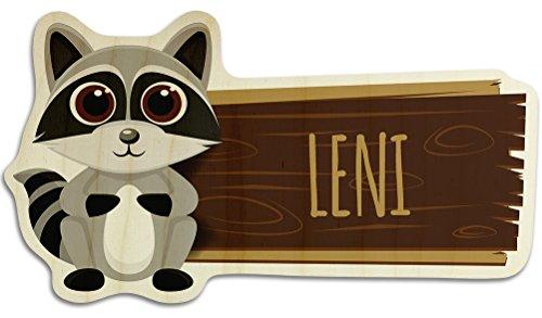 printplanet Türschild aus Holz mit Namen Leni - Motiv Waschbär - Namensschild, Holzschild, Kinderzimmer-Schild