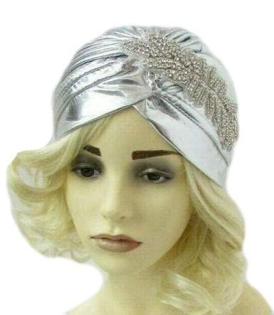 Starcrossed Boutique 6975 Turban-Kopfbedeckung im Stil der 20er-Jahre, Strasssteine, silberfarben