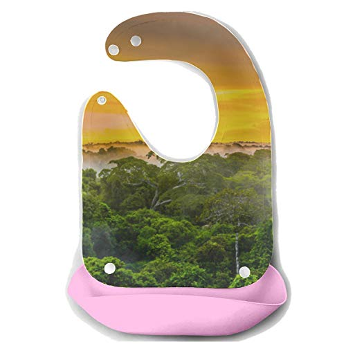 N\A Babero Babys Amazon Primeval Jungle Delantal de alimentación de silicona desmontable Toalla de ratón Alimentación para bebés Bib Dribble Drool Babero para alimentación de bebés