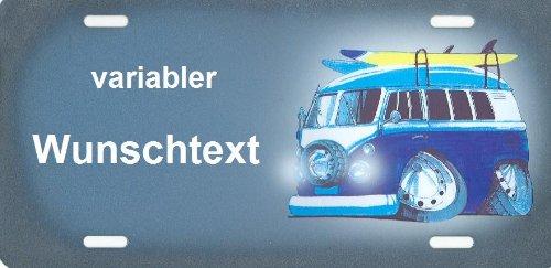 Nummernschild und Namensschild VW T2 Bus Bulli Comic selbst gestalten und bedrucken lassen ✓ Transporter und Caravan ✓ Ideale Geschenkidee | Individuelles Aluminium-Schild | Autoschild mit Namen & Spruch beschriften | Aluschild, Kfz-Kennzeichen-Schilder mit Wunschtext