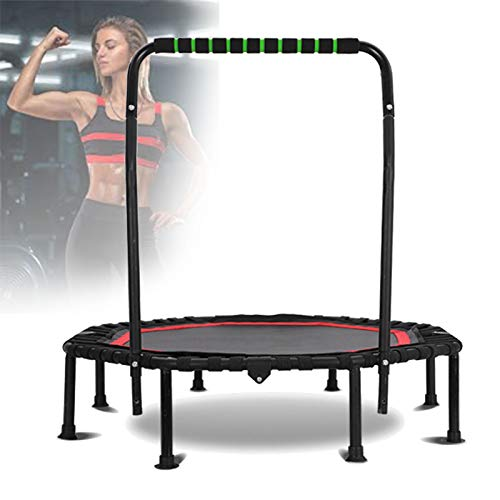 Ycrdtap 40' Sport Fitness Trampoline, Elastic Rope Silent Safety Jumper Bounce with Handrail for Lose Weight, Burn Fat, Cardio, Body Shaping,Red