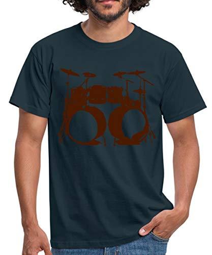 Schlagzeug, Drums, Drummer, Schlagzeuger, Musik, Instrument, Double bass Männer T-Shirt, M, Navy