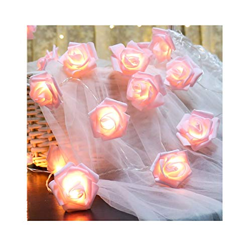 Fantasee LED Pink Rose Flower String Lights Battery Operated for Wedding Home Party Birthday Festival Indoor Outdoor Decorations Large Rose Flower Diameter 6cm (6.6ft 20LED, Pink Rose Warm Lights)