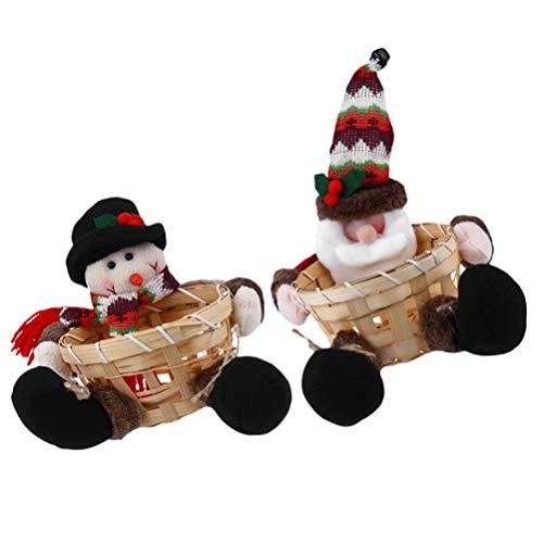 Cabilock 2 Piezas Cesta de Dulces de Navidad Cesta de Mimbre Tejida a Mano Decoración de Navidad Decoración de Fiesta Contenedor Caja de Regalo