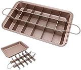 Brownie Tin, Brownie BakingTray con divisores, antiadherente de acero al carbono, molde para brownie, molde cuadrado para hornear chocolate para horno utensilios de cocina (30,5 x 20,3 x 5,08 cm)