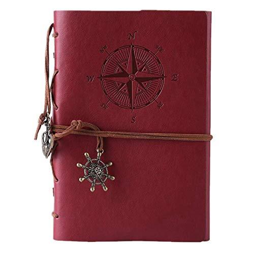 Cuaderno de piel Maleden, rellenable, hojas en blanco. , color rojo vino
