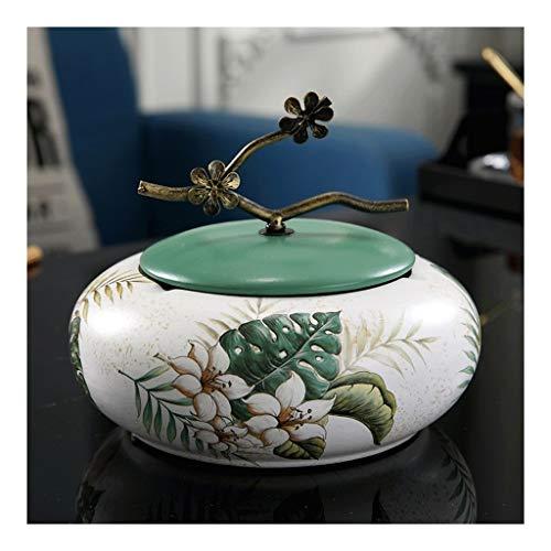 cenicero Cenicero de cerámica con tapas, a prueba de viento, Ash Soporte for los fumadores, escritorio fumadores Cenicero for la seguridad del Decoración cenicero portatil ( Color : Turtle Green )
