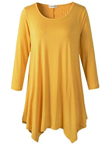 LARACE Lanmo Women Plus Size 3/4 Sleeve Tunic Tops Loose Basic Shirt (L, Yellow)