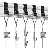 Picture Rail Hooks and Wire - 5 Pack - Picture Rail Hanging System - Silver Molding Hooks for Picture Hanging - Gallery Hanging System Includes Picture Rail Hook, Wire Cables and Adjustable Hooks