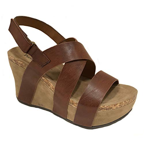 Pierre Dumas Womens Hester-5 Vegan Leather Strappy Wedge Sandals (8 M US, Whiskey)