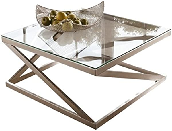 Ashley Furniture Signature Design Coylin Square Cocktail Table Contemporary Glass Coffee Table Silver