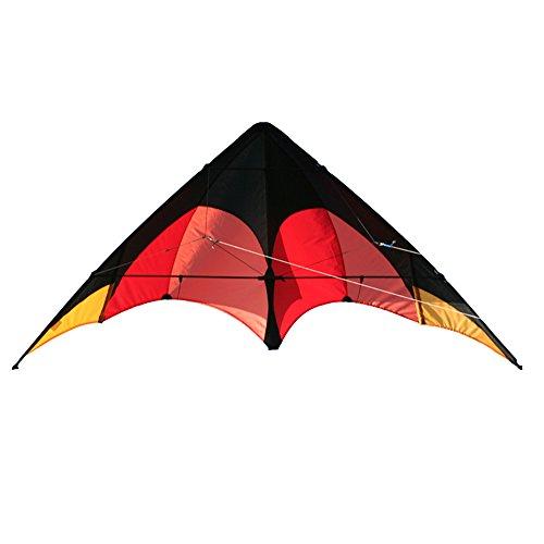 Elliot Delta Sport, Zweileiner Lenkdrachen für Einsteiger, Ready to Fly, schwarz-rot-orange