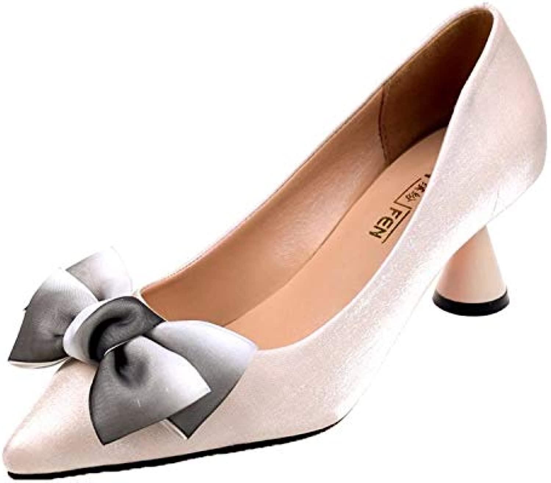 HOESCZS Damenschuhe Single Single Schuhe Damen Frühling Und Herbst Spitze Bogen Dick Mit Satin High Heels Hochzeit Schuhe Damenschuhe Mode  bestes Angebot