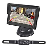 Kecxny HD Wired Backup Camera with 4.3 Inch Monitor, IP68 Waterproof Car Rear View Backup Camera LED Light Night Vision License Plate Camera System Kit for Cars,Trucks,Vans,Campers