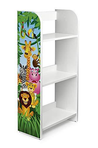 Leomark Bibliothèque Etagere De 3 Casiers Meuble De Rangement Colour Blanc Motif: Animaux de la Jungle Lion Eléphant Girafe Etagere Sur Des Livres, de Jouets