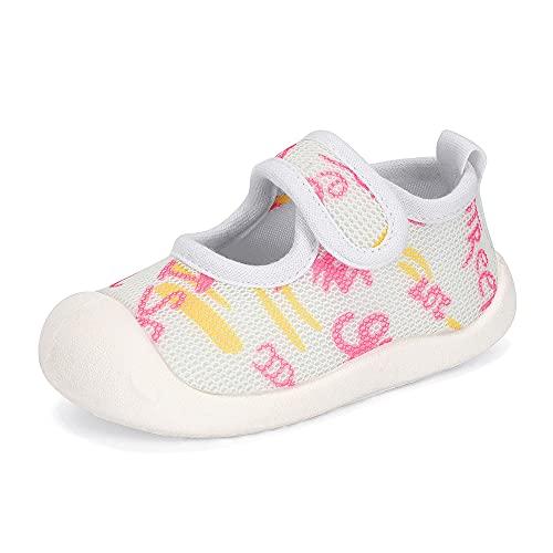 MASOCIO Zapatos Bebe Niña Primeros Pasos Zapatillas Bebé Deportivas Antideslizante Talla 19.5 Blanco