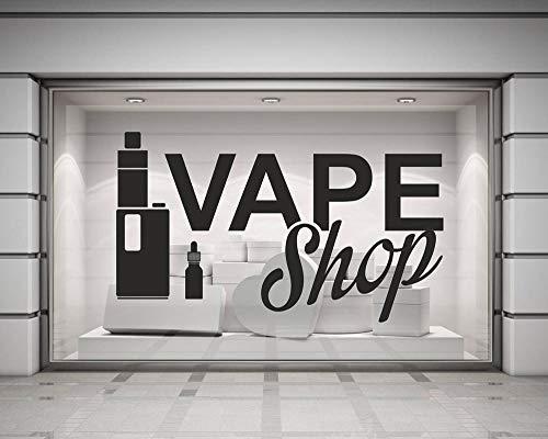 ZRbMR Vinyl Wandtattoos Vape Shop Schild Poster Wandaufkleber Home Decoration Abnehmbare elektronische Zigarette Art Decal Wallpaper 98x57 cm