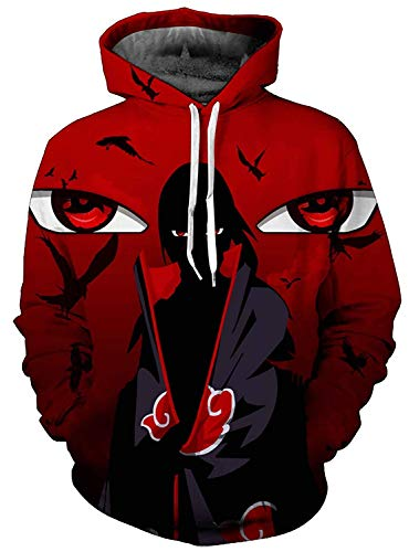 JIUMOO Naruto Unisex 3D Printed Fashion Hoodies Anime Jacket Pullover Cosplay Costumes US M(Colth tag is Asia L)