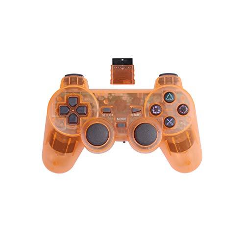Contrôleur de jeu d'éclairage |Manette de jeu sans fil 2.4G pour Sony PS2 Controller Double Vibration Shock Controle pour Playstation 2 Console Joystick-Orange-