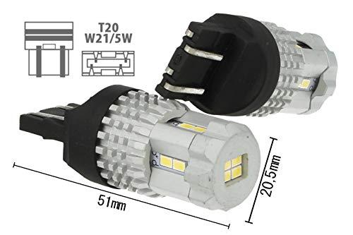 CARALL LS5477 Lampada Led T20 7443 W21/5W 12 Smd 3020 Bianco Super Luminoso Luci Diurne 12V 7W Effettiva - 2 Pezzi