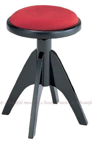 ピアノ椅子 丸椅子 イタリア ディスカチャーチ IT-2 (黒/エンジ座面)