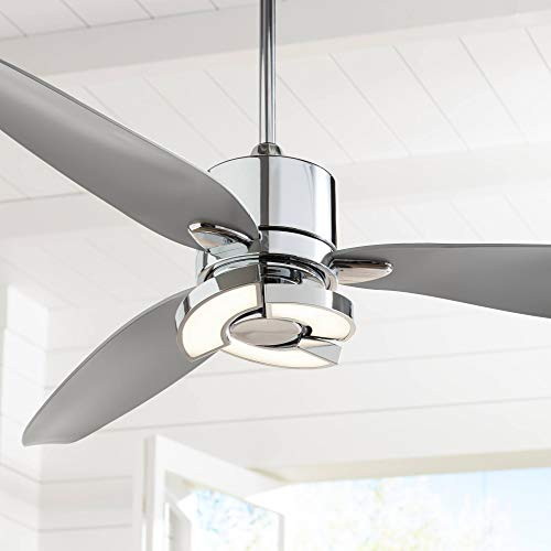 "56"" Vengeance Modern Contemporary 3 Blade Ceiling Fan with Light LED Remote Control Chrome Silver White Diffuser for House Bedroom Living Room Home Kitchen Dining Office Family - Possini Euro Design"