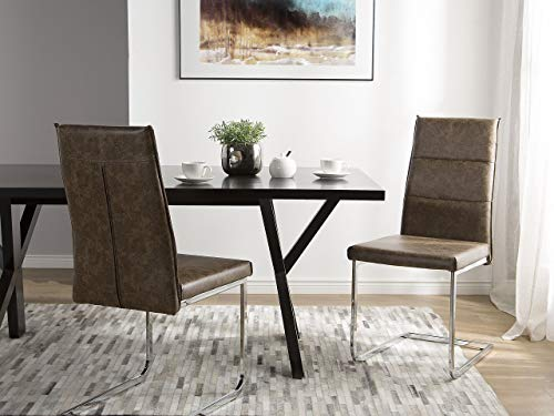 Beliani Conjunto de 2 sillas de Comedor marrón Claro Rockford