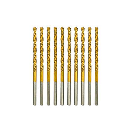 amoolo 1/8' Titanium Drill Bits (10pcs), Premium 4341 HSS Metal Drill Bits for Wood, Metal, Steel, Plastic, Aluminum Alloy