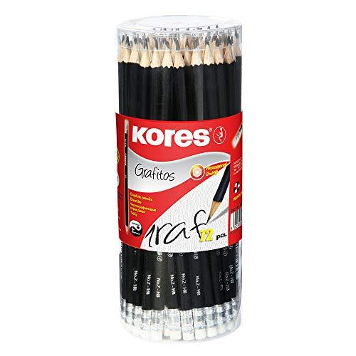 Kores Bleistift Grafitos, HB, 3-kant mit Radierer, 72 Stück, schwarz, 92672