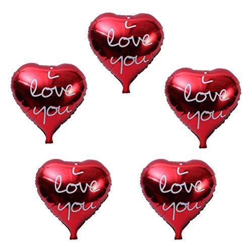 LUOEM 5pcs Globos Decorativos con Forma de corazón de Amor Globos de Mylar con I Love You Pattern para Decoraciones de Bodas (Rojo)