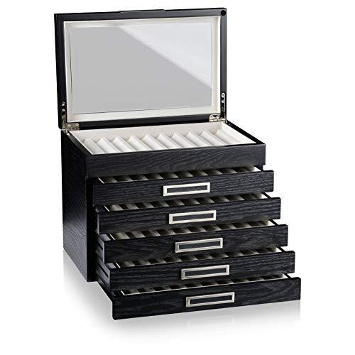 HEISSE & SÖHNE SEIT 1976® Schreibgeräte Box/Aufbewahrung/Vitrine Monteray Esche Furnier in Schwarz Seidenmatt für 60 Schreibgeräte