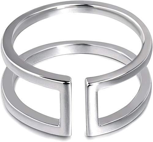 Anillo de plata minimalista para mujer, barras paralelas, anillo abierto ajustable, anillo geométrico plata de ley 925 para mujer niña hombres (17)