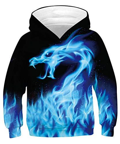 ALISISTER 3D Hoodies Kapuzenpullover Für Kinder Jungen Mädchen Erstaunlich Galaxis Drachen Grafik Hooded Sweatshirt Herbst Winter Pullover Shirt Tops M