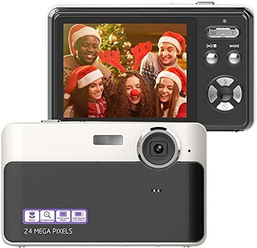 Fotocamera Digitale Fotocamera da 24 MP Schermo LCD da 2,4 Pollici Mini videocamera Compatta Fotocamera punta e Scatta per Bambini Studenti Anziani Amatori