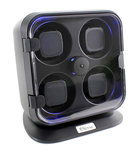 Versa Quad Watch Winder with Light in Black - Independently Controlled Settings - 12 Direction and Timer Settings - Adjustable Watch Pillows - Plenty of Space for Large Watches