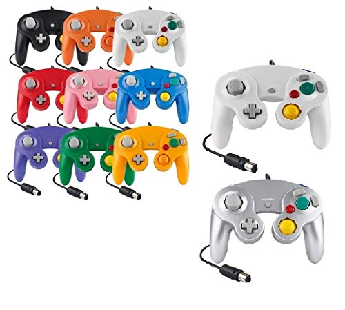 Controller Für Game Cube Weiß und Switch kabelgebunden Gamepad Joypad (Silber / Weiß)